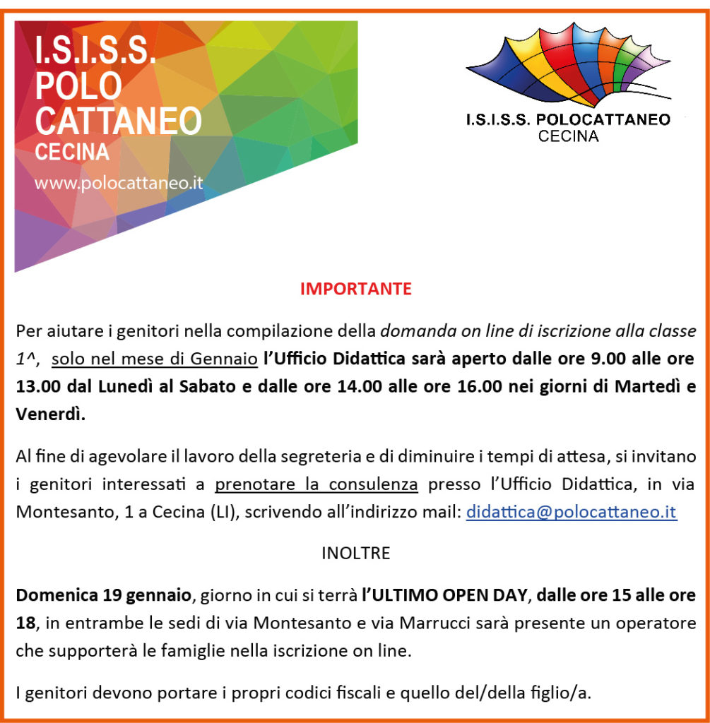 avviso iscrizioni on line isiss polo cattaneo